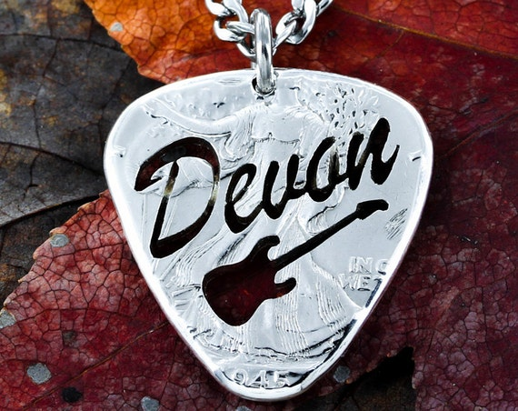 Custom Guitar Pick Necklace, Name Jewelry, Big Pick, Hand Cut and Burnished Half Dollar