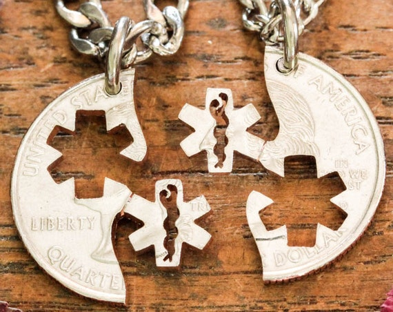 Medical and Emt Couples Necklaces, Nursing star of life jewelry, Interlocking Like a Puzzle, Relationship Medical Jewelry