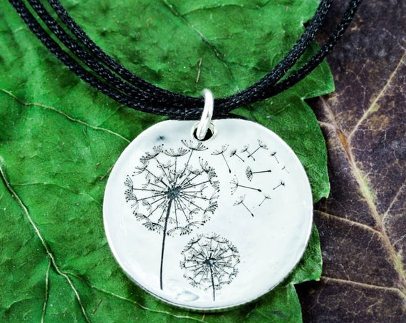 Silver Dandelion Choker Necklace, Black Cord, Engraved Hammered Silver Dime on a 3 strand black cords