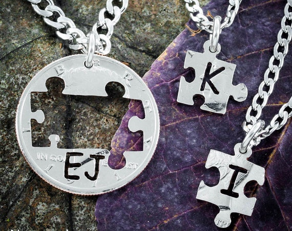 3 Custom Initials Best Friends Puzzle Piece Necklaces or Family Jewelry, BFF Gifts, Hand Cut Coin
