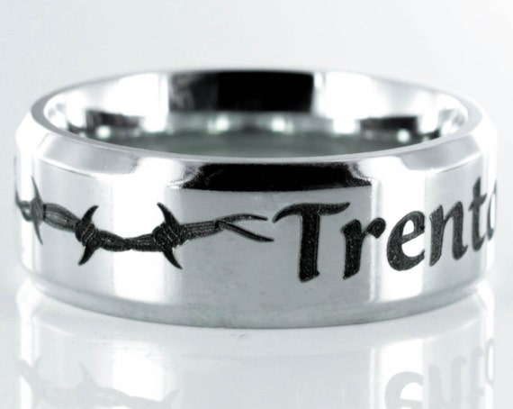 Barbed Wire Name Ring, custom name engraved, Stainless Steel, Personalized comfort fit 7mm ring
