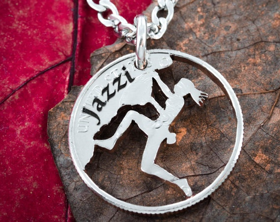 Woman Rock Climbing Necklace with Custom Name Engraved, Hand Cut Coin