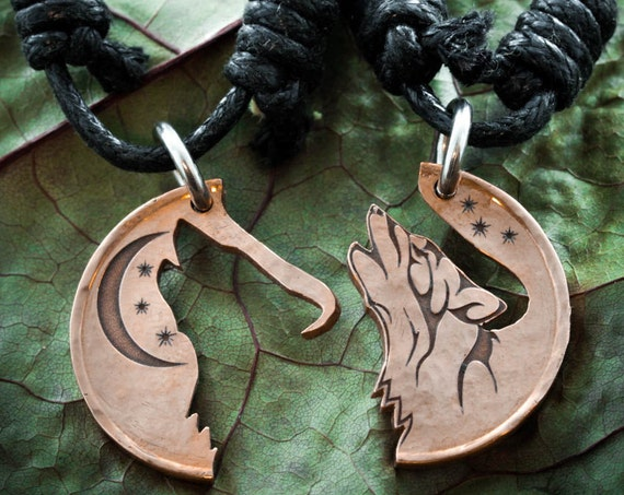 Copper Wolf Necklaces, Howling Tribal Wolves with Moon, Interlocking Jewelry, Best Friends jewelry, Coin that has been cut and etched