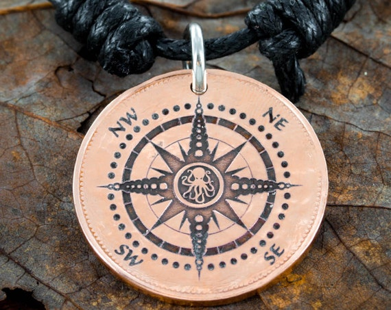 Copper Compass Necklace with a Kraken, Engraved into an Old Hammered Copper Coin