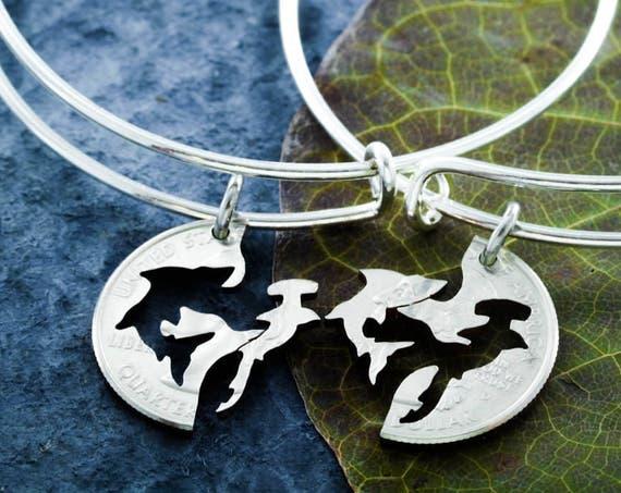 Best Friends Shark Charm Bangles, BFF Shark Bracelets, friendship set, Interlocking Hand cut coin