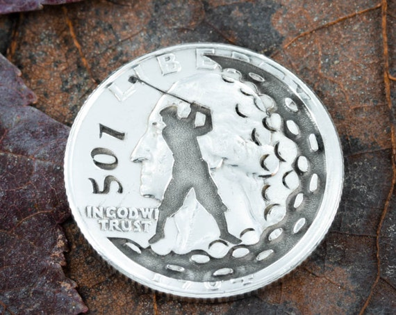 Custom Golf Ball Marker, Number engraved, Etched Quarter