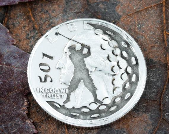 Custom Golf Ball Marker, Number Engraved, Etched Quarter