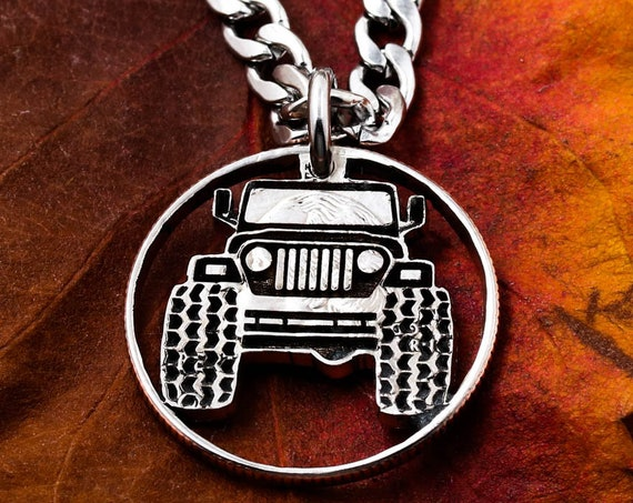 Engraved Dune Buggy Necklace, Truck Jewelry, 4x4 Necklace, Mudding Tires, Automotive Jewelry, Big Tires, Car Gifts, Hand Cut Quarter