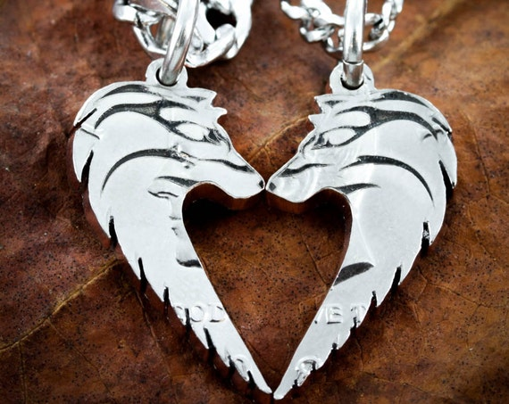 Tribal Wolf Couples Necklaces, Wolves Making Heart, Relationship Jewelry, Half Dollar, Hand Cut Coin