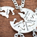 5 Best Friends Wolf Necklaces, Custom Names Engraved, Friendship and Family Necklace, hand cut coin