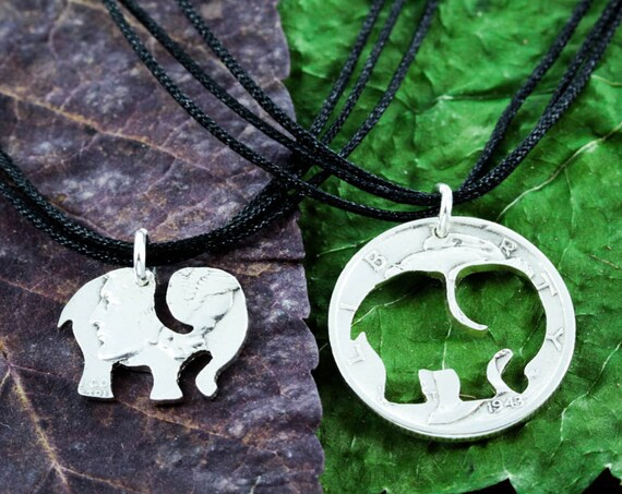 Small Silver Elephant Best Friends Necklaces, BFF Gifts, Choker Necklace,  Inside and Outside, hand cut coin