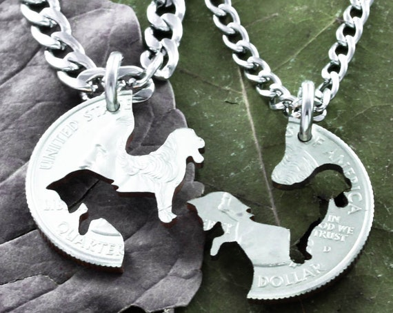 Fox and The Hound Best Friends Necklaces, Dog and Fox, Hunting BFF Gifts, Best Friends Forever Jewelry, Hand Cut Coin