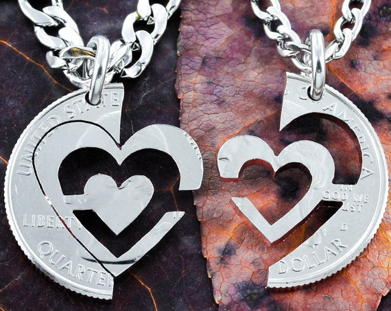 I Carry Your Heart Necklaces, Couples Jewelry, Interlocking Quarter Set, Hand Cut Coin