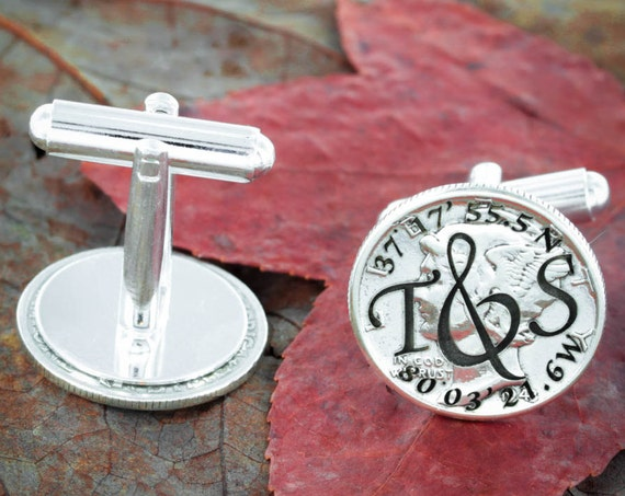 Silver Wedding Cufflinks, Custom Initials and GPS Coordinates Cuff Links, Engraved Silver Mercury Dimes