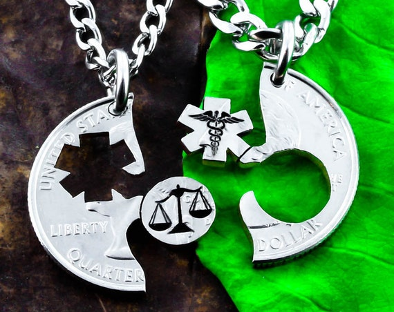 Scales of Justice and Medical Symbol Necklaces, Law Student Gift, BFF or Couples  Medical and Lawyer Jewelry, Hand cut coin