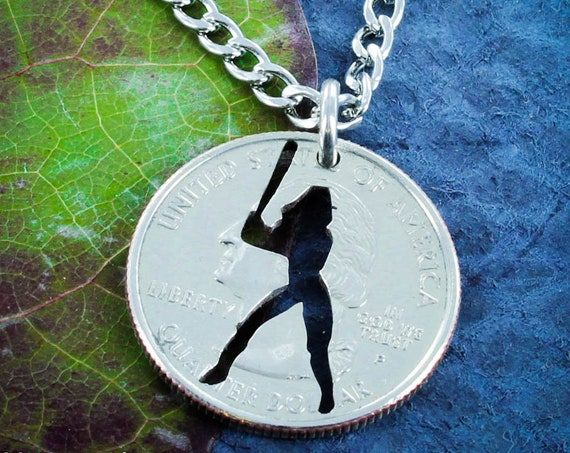Softball Necklace, Sports Necklaces for Girls, Hand Cut Coin