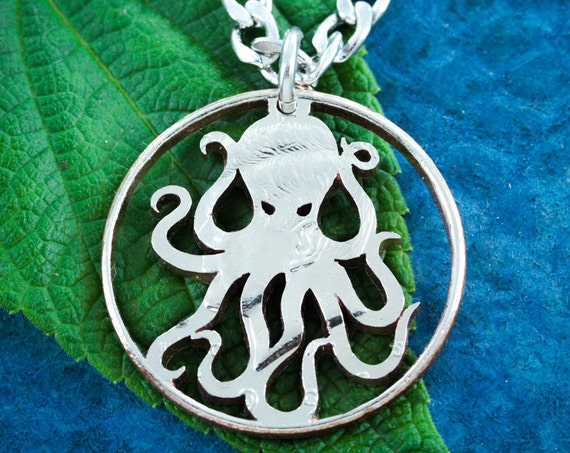 Octopus Necklace, Kraken Jewelry, Nautical Hand Cut Coin