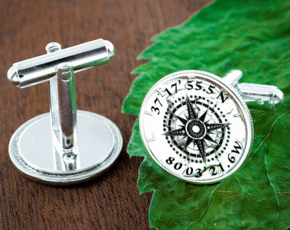Silver Compass Cufflinks with Engraved GPS Coordinates, Groom gift or Anniversary gift for men, Made from Silver Mercury Dimes