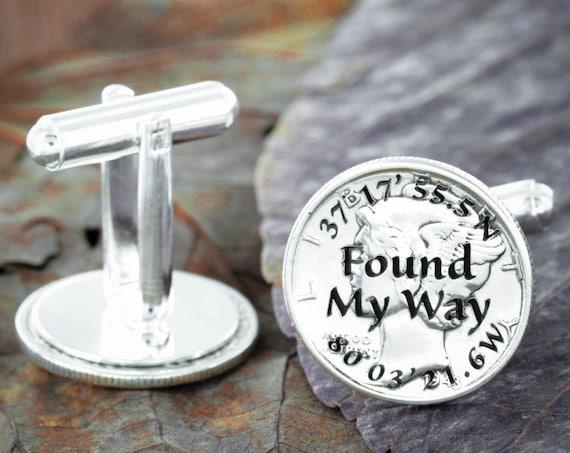 Silver GPS Coordinates Wedding Cufflinks, Anniversary Gifts for boyfriend, Found My Way Engraved Silver Mercury Dimes
