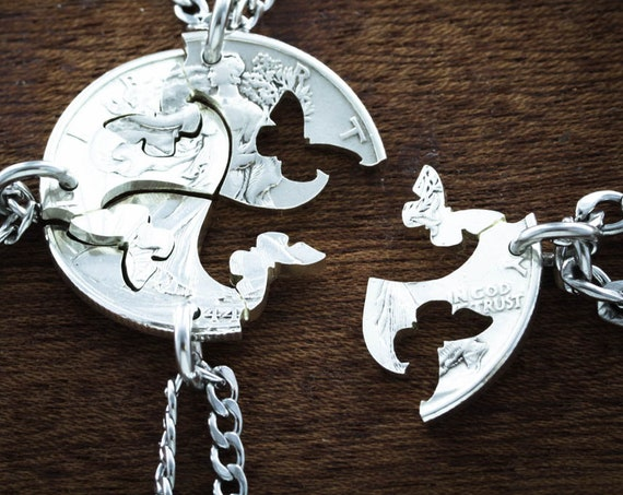 Butterfly Jewelry, 4 Best Friends Necklaces, Interlocking Butterflies BFF Gift, Hand Crafted Cut Half Dollar