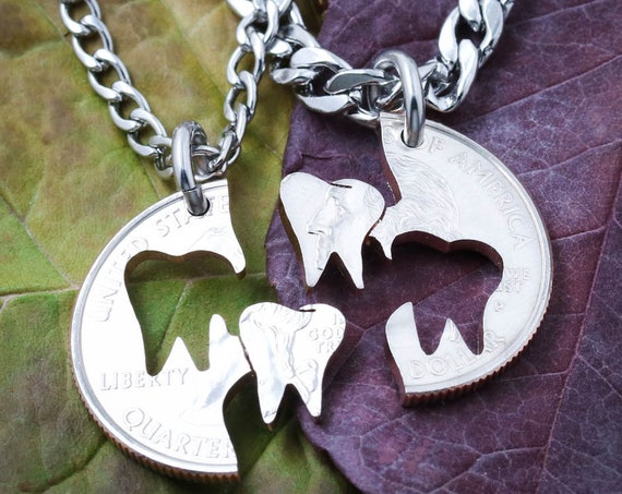 Teeth BFF or Couples Necklaces, Dental Hygienist, Dentist, Orthodontist, Oral Surgery, Tooth Gift, Periodontist, Pedodontist, Molar, Friends