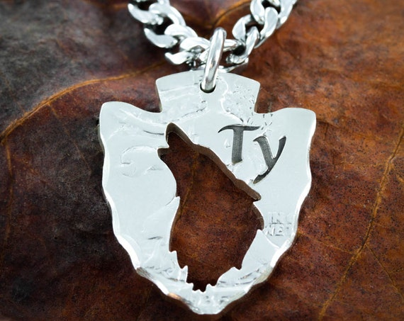 Custom Wolf Necklace, Your initials or Name Customized, Arrowhead Jewelry Howling wolf, US Coin cut by hand