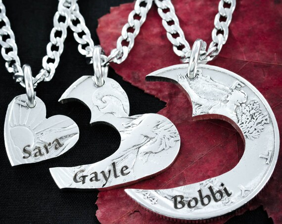 3 Best Friends Heart Necklaces, Custom Names Engraved, 3 BFF, Love Necklaces, Best Friends or Family Jewelry