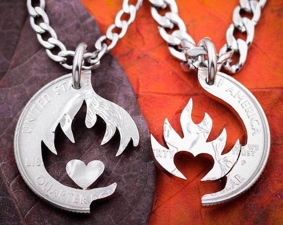 Heart on Fire Couples Necklaces, Fiery Love and Relationship Jewelry, Boyfriend Girlfriend Gift, Anniversary or Wedding Present, His and Her
