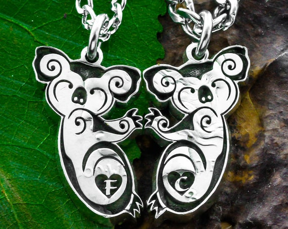 Koalas Hugging Necklaces, Couples or Best Friends Gifts, Koala Bear Jewelry, Custom initials Engraved, Hand Cut Coin, Relationship Jewelry