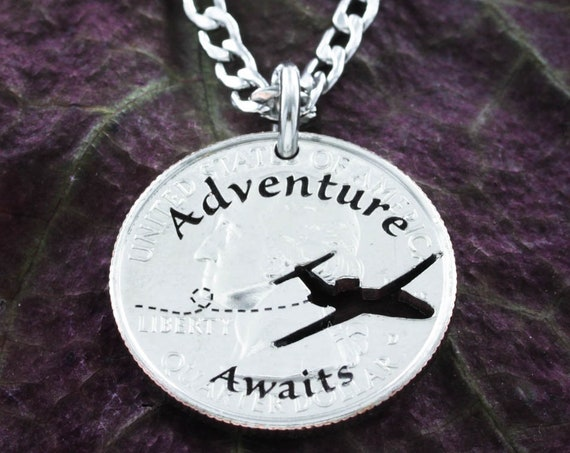 Adventure Awaits Necklace, Love to Travel Gift Charm, Handmade Plane or Pilot Coin Jewelry