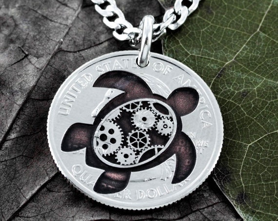 Steampunk Turtle Necklace, Sea Turtle and Gears Engraved on a Coin