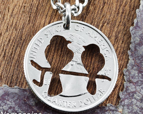 Love Birds Necklace,  Sweet Jewelry, Romantic Jewelry, Hand Cut Coin