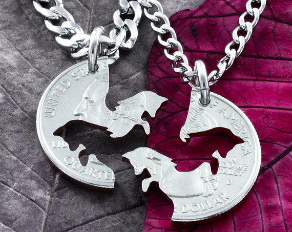 Fox Best Friends Jewelry, BFF Gifts, Best Friends Forever Necklaces, Foxy Lady, Interlocking Puzzle set, Made from a Hand Cut Coin