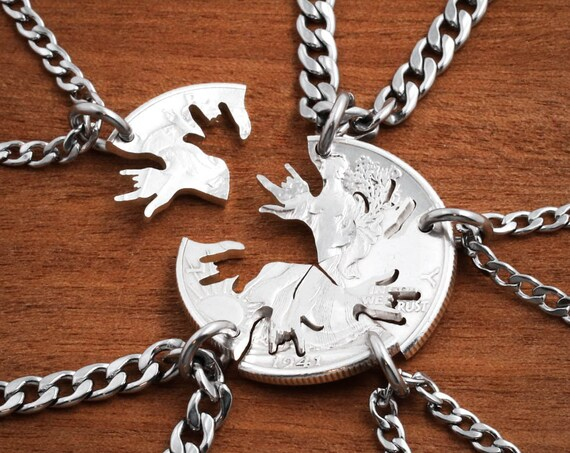5 Piece Best Friends, I Love you ASL Necklaces, Interlocking Like A Puzzle, Best Friend Gifts, hand cut coin