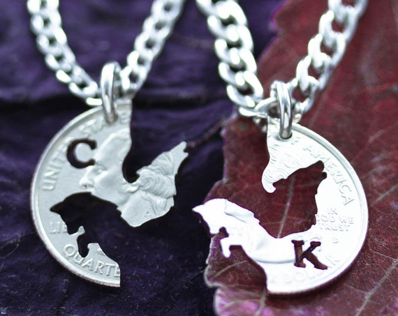 Wolf and Fox Couples Jewelry, BFF Initials Gifts, Best Friends Forever Necklaces, Interlocking Monogram Puzzle set, Made from Hand Cut Coin