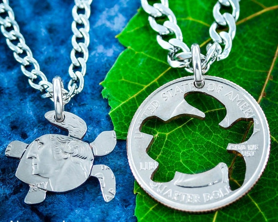 Turtle BFF Necklace for 2, Best Friends for 2, Friendship Necklaces, Turtles Inside and Outside Pieces