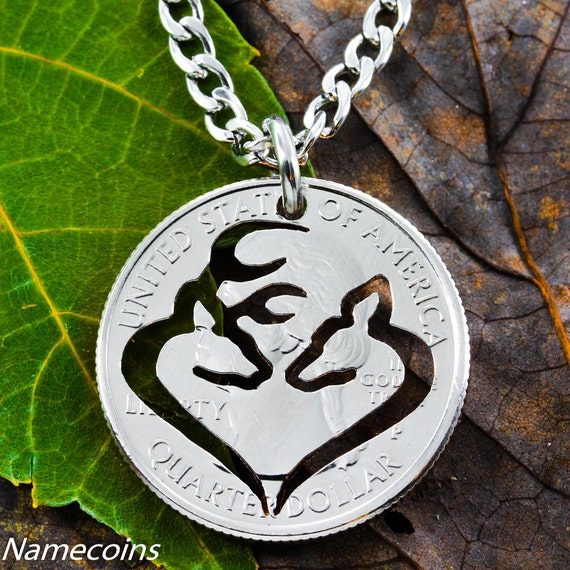 Buck and Doe Heart Necklace, Hunting gift, Hunters Girlfriend, hand cut coin