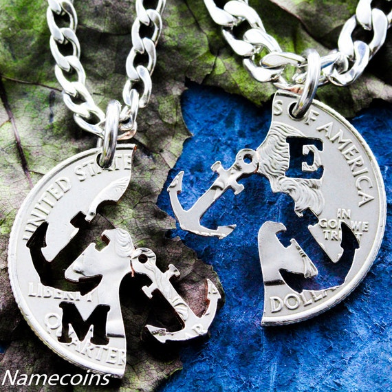 Anchor Jewelry for 2 Personalized with intials, Couples or Best Friend Gifts, interlocking relationship Necklaces