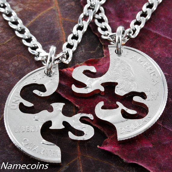 Sister BFF Necklaces, Best Friends Forever, Big Sis Little Sis, Interlocking Like a Puzzle, Hand Cut Coin