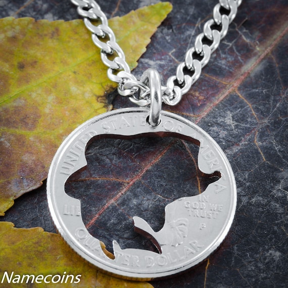Bass Fish Necklace, hand crafted, Bass cut coin