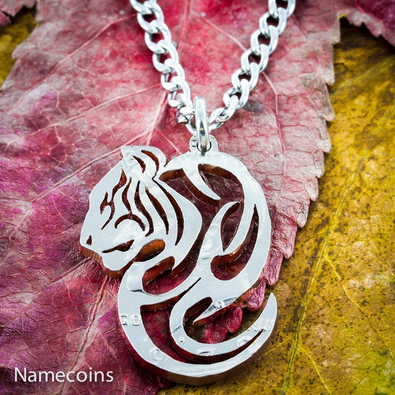 Tiger Necklace, Metal Jewelry, Tribal pendant, Hand Cut coin