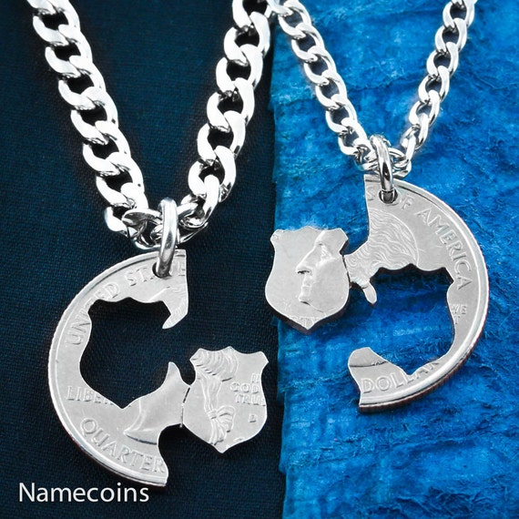 Police Necklaces, Couples Badges, BFF Police Gifts Hand Cut Coin