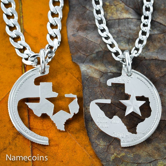 Texas Couples or Best Friends Necklaces, Lone Star State, His and Her Jewelry, BFF Gifts, Hand Cut out of a Real State Quarter