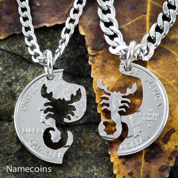 Scorpion Best Friends necklaces, Interlocking hand cut coin