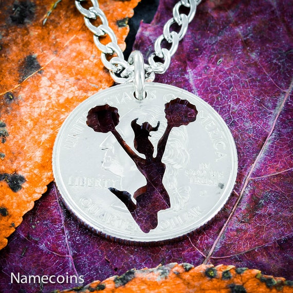 Cheerleader charm necklace, Cheer leading quarter jewelry, Sports Gifts for Teen Girls, Hand Cut Coin