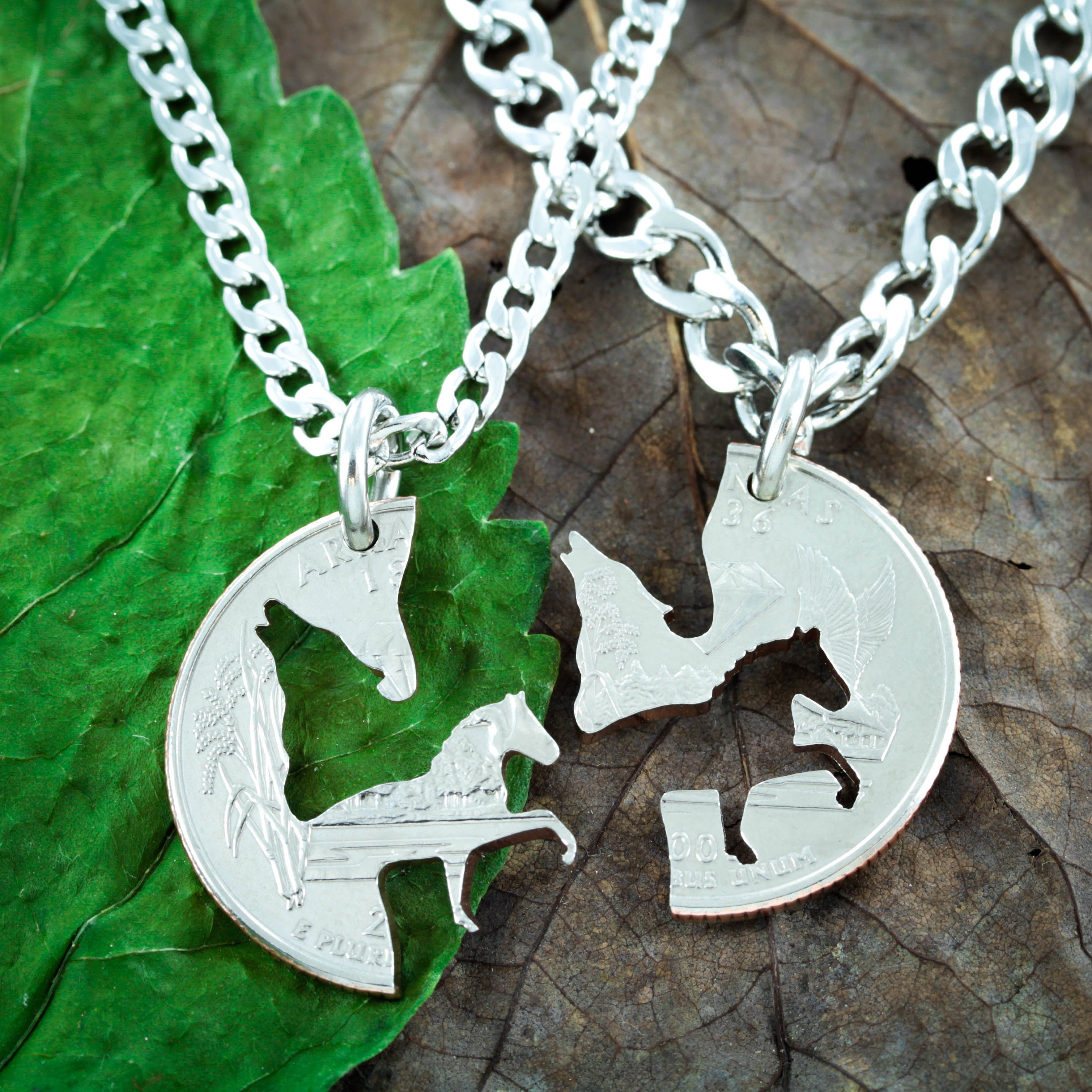 Wolf And Horse Best Friends Jewelry Bff Puzzle Piece Gifts Wolf Couples Necklace Horse Bff Necklace Made From A Hand Cut Coin