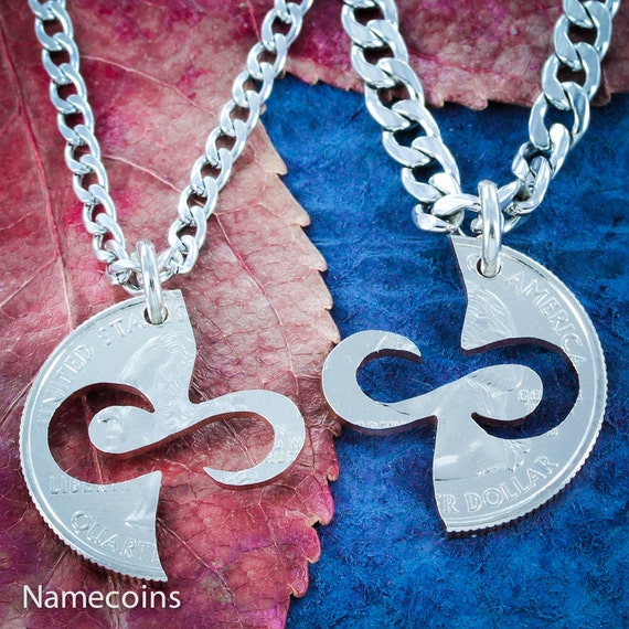 Infinity Necklaces, Couples Jewelry, BFF Gift, Special Quarter, Hand Cut Coin