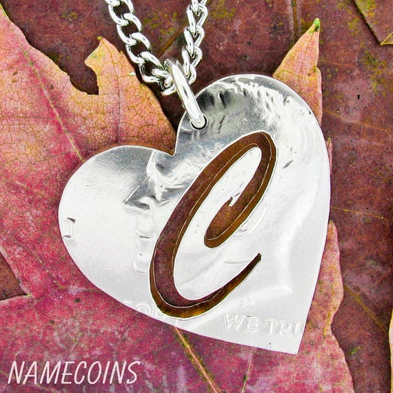 Initial Heart Necklace, Monogram Jewelry, Custom Heart Half Dollar, Hand Cut Coin