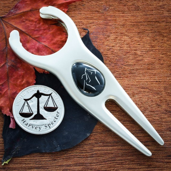 Lawyer Golf Marker, Attorney Gift, Scales of Justice with Custom Name Engraved, Paralegal Hand Cut Quarter
