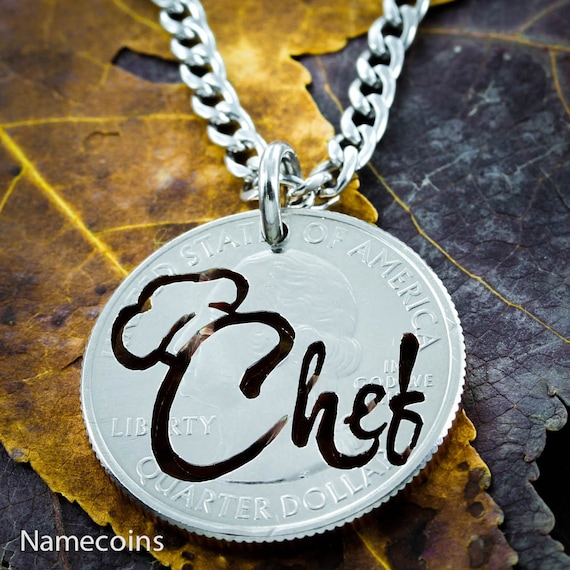 Chef Necklace Cooking Jewerly, Hand cut Coin